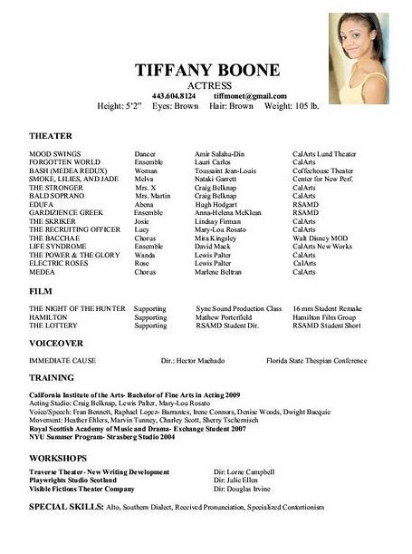 Technical Theatre Resume Format Technical Theatre Resume F