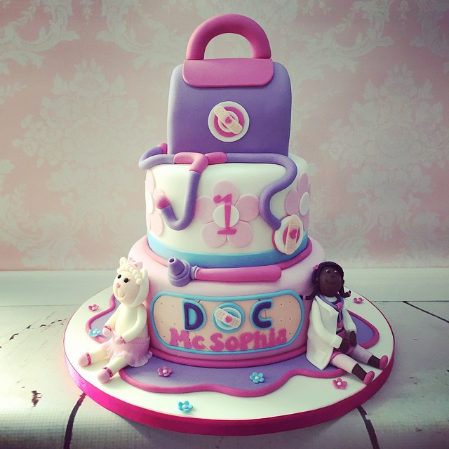 Prime Yesterdays 3 Tier Doc Mcstuffins 1St Birthday Cake With M Flickr Personalised Birthday Cards Bromeletsinfo