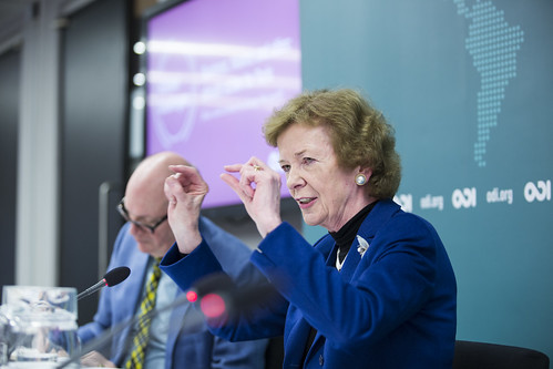 Mary Robinson - President of the Mary Robinson Foundation – Climate Justice and UN Secretary General's Special Envoy on Climate Change speaking at #GlobalChallenges climate action event, March 2015