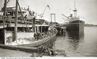 Port Adelaide, showing boat bridge across the entrance to No.2 quay. - Photograph courtesy of the State Library of South Australia
