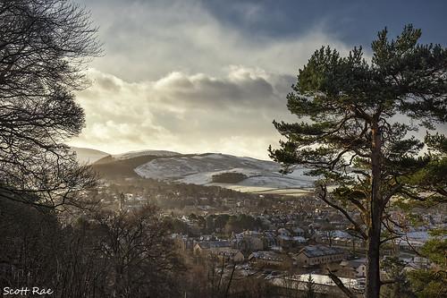 peebles winter morning hills trees snow showers scotland scottishborders landscape tweeddale peeblesshire town christmas