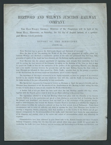 Hertford and Welwyn Junction Railway Directors Report 1856 | by ian.dinmore
