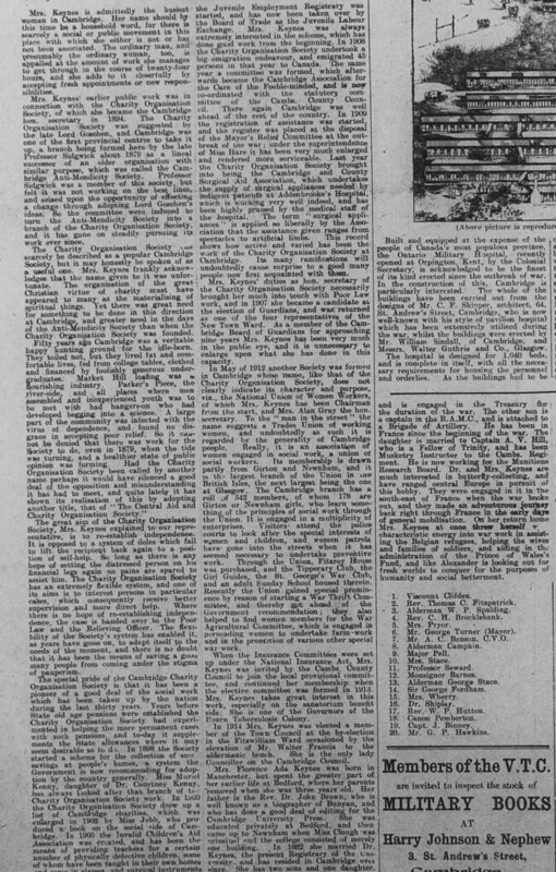Cllr Florence Ada Keynes in Cambridge Chronicle 15 March 1916