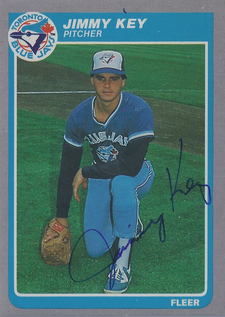 1985 Fleer Jimmy Key 110 Pitcher Autographed Baseba
