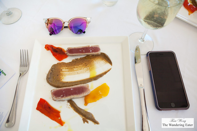 Seared tuna, eggplant puree, roasted bell peppers