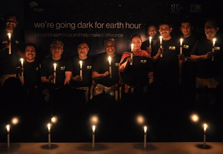 Earth Hour 2015 - Head Of Engro Green office Program, Wajid Hussain Junejo celebrating Erath  Hour 2015 Candle Light Vigil with his Green office Team at Karachi