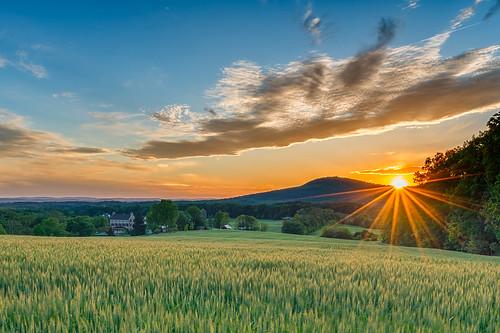 sunset mountain field grass rural landscape outdoors farm scenic maryland sunburst sugarloaf montgomerycounty