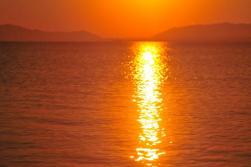 sunset orange lake color nature water japan nikon sigma apo 夕陽 romantic shimane tranquil matsue 70200mm lakeshinji 松江 島根 宍道湖 d300s