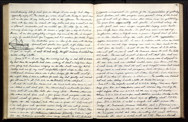 Page 50 of Donald Erdman's journal, which includes a drawing of an unidentified sailing vessel