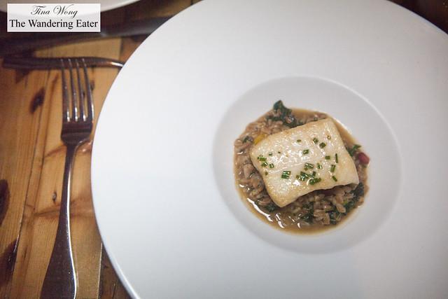 """Dayboat halibut, farro """"risotto style"""", squash, kale, pomegranate"""