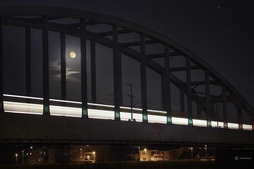 city longexposure travel bridge urban moon night train lights steel transport croatia multipleexposure zagreb hendrix sava