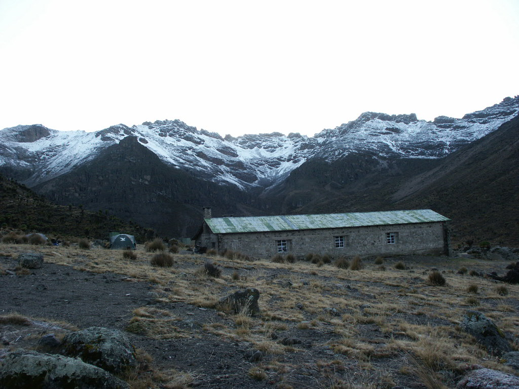 The hut at Mackinder's Camp. To the left is the scree slope we descended from Pt Lenana.