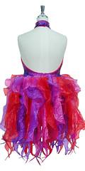 7264f9c0e84 Short Fuchsia and Purple Sequin Organza Ruffle Dress by SequinQueen Back  View