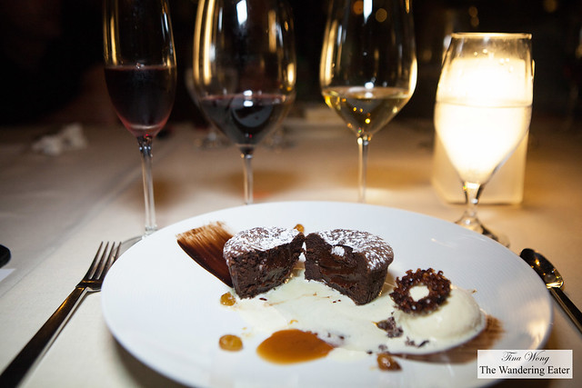 My chocolate cake dessert and wines of the evening