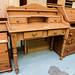 Pitch pine 4 drawer writing desk