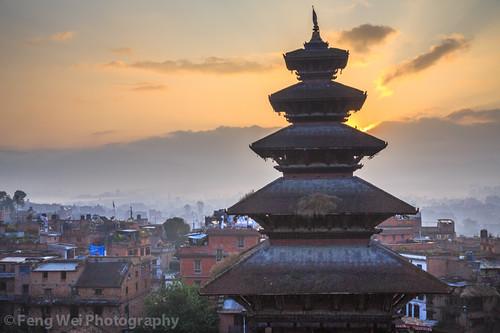 travel nepal color tourism beautiful beauty horizontal sunrise dawn ancient asia tour outdoor landmark unesco nepalese tradition architeture bhaktapur bagmati newar bhadgaon