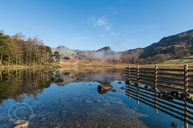 Lake District April 2015 155 - Tranquility - Langdale Pikes reflected in Blea Tarn