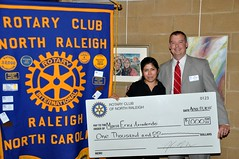 Maria Erica Arredondo, better known to our club as Erica, was presented with a check for $1000. She will be attending Wake Technical Collega.  Erica has been bringing, and setting up, our weekly lunches from Sassool Lebanese Restaurant.