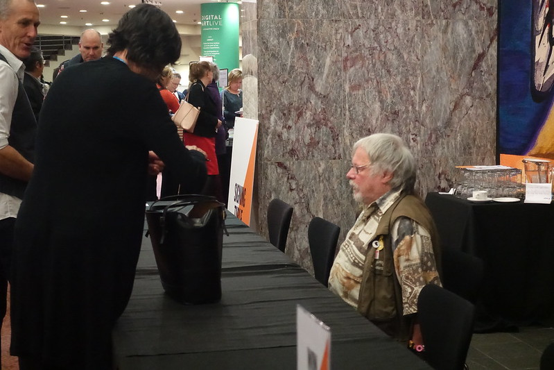 Bill Oddie at the signing desk