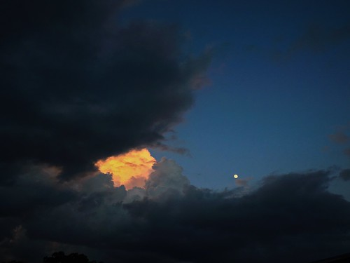 sunset sky cloud moon storm weather