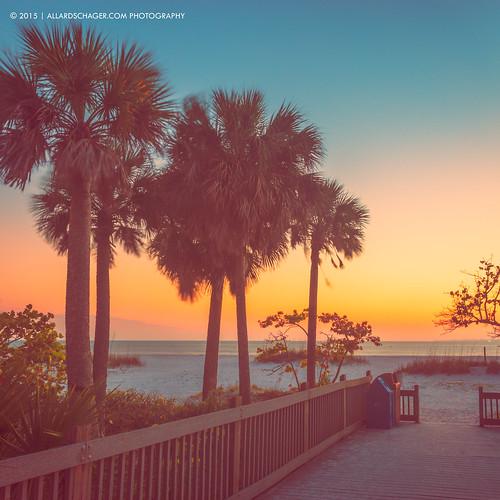 sunset usa seascape beach florida palmtrees boardwalk cinematic fortmyersbeach 2015 verenigdestaten nikkor2470mmf28 nikond800 allardschager