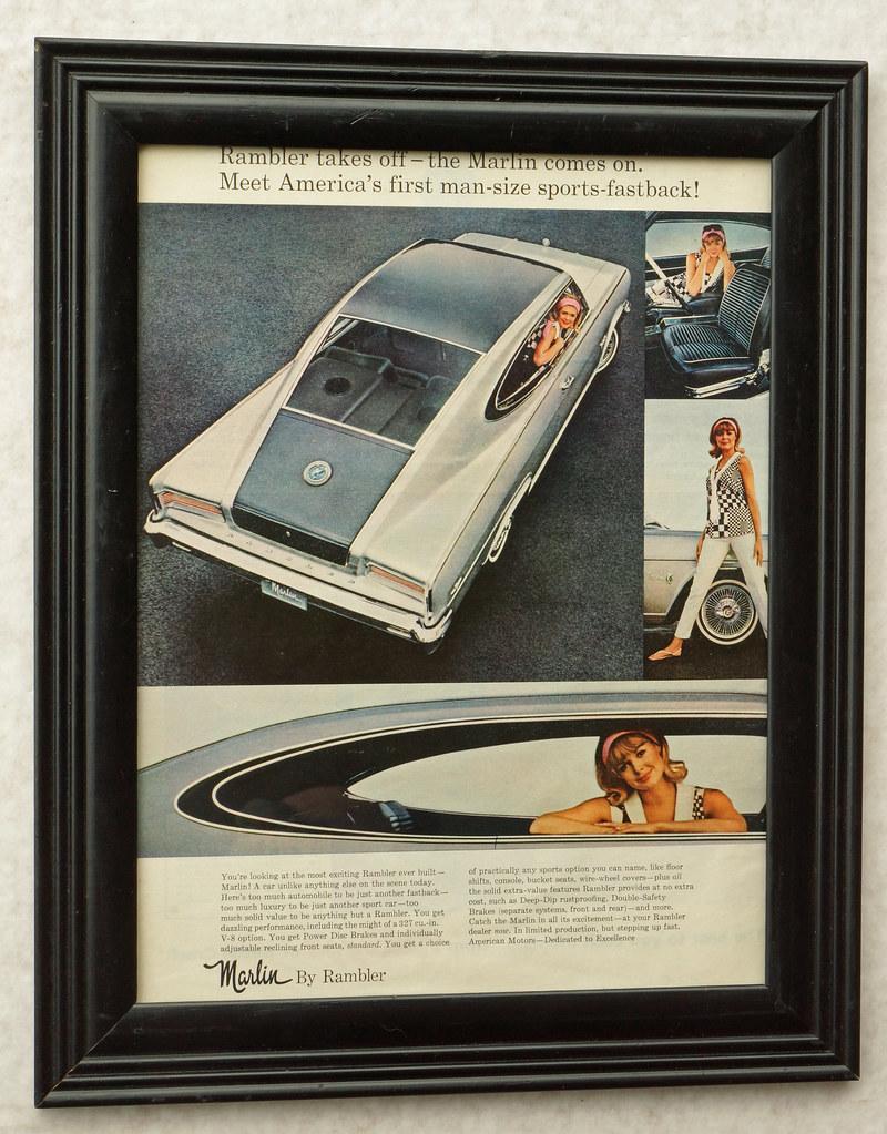 CM035 1965 Rambler Marlin Car Ad Framed DSC04428