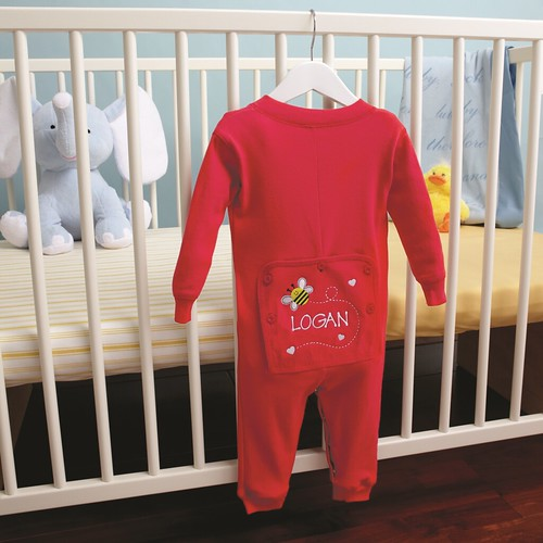 personalized red baby long johns hanging on hangar on baby crib with stuffed elephant and chick | by PersonalCreations.com