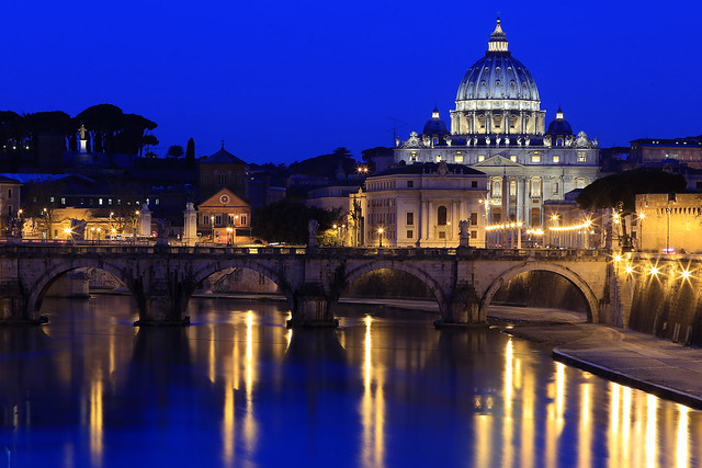 Reflections from St. Peter's Basilica and Ponte Sant'Angelo on the Tiber