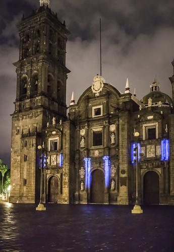 Projected light show on the Catedral de Puebla, Puebla, Mexico