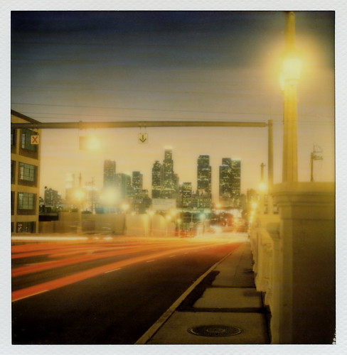 california ca street bridge blue autumn light sunset toby 2 test color fall film lamp skyline night project polaroid sx70 for la los twilight october downtown cityscape skyscrapers traffic angeles dusk trails 4th illuminated tip cameras hour type instant week lit 20 hancock day5 gen pioneer generation tigerstripes dtla zone taillight highrises impossible roid the gen2 2015 0515 polaroidweek into roidweek tobyhancock impossaroid
