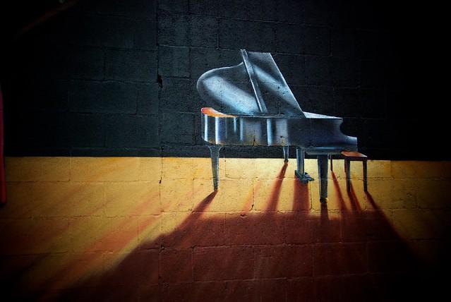 Grand Piano in Spotlight