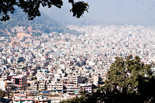 swayambhu kathmandu nepal view cityscape pollution city