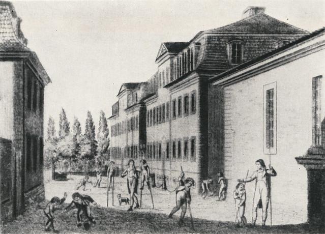 Hof der Erziehungsanstalt in Schnepfenthal 1809
