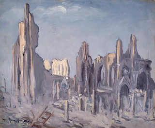 """Ypres Cathedral,"" a painting by Mary Riter Hamilton, 1919 /   « La cathédrale d'Ypres »; tableau peint par Mary Riter Hamilton en 1919"