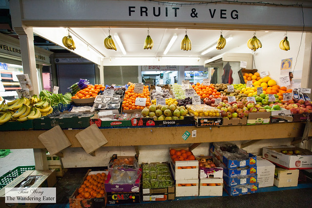 Produce stall at Cardiff Market