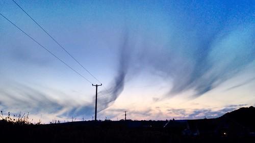 2016onephotoeachday sunset htt clouds sky iphone5 telegraphpole turbines newmarket cork ireland irish silhouette