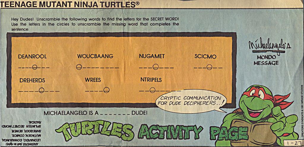 TEENAGE MUTANT NINJA TURTLES  { newspaper strip } TURTLES ACTIVITY PAGE ; ..art by Brown , Lavigne  :: 01271991 by tOkKa