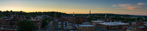 city sunset panorama twilight dusk pano iowa mississippiriver dubuque steeples centralavenueparkingramp
