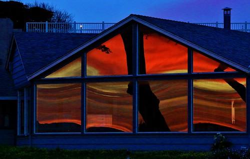 abstract reflection window sunrise canon pacificgrove morningsun loverspoint 70d thetinnery