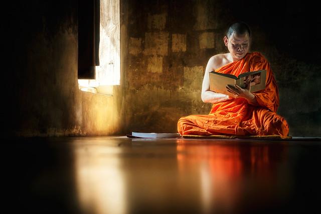 Monk reading book