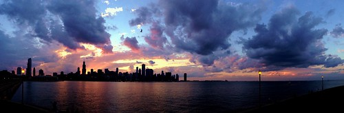 sunset summer sky panorama chicago clouds pw