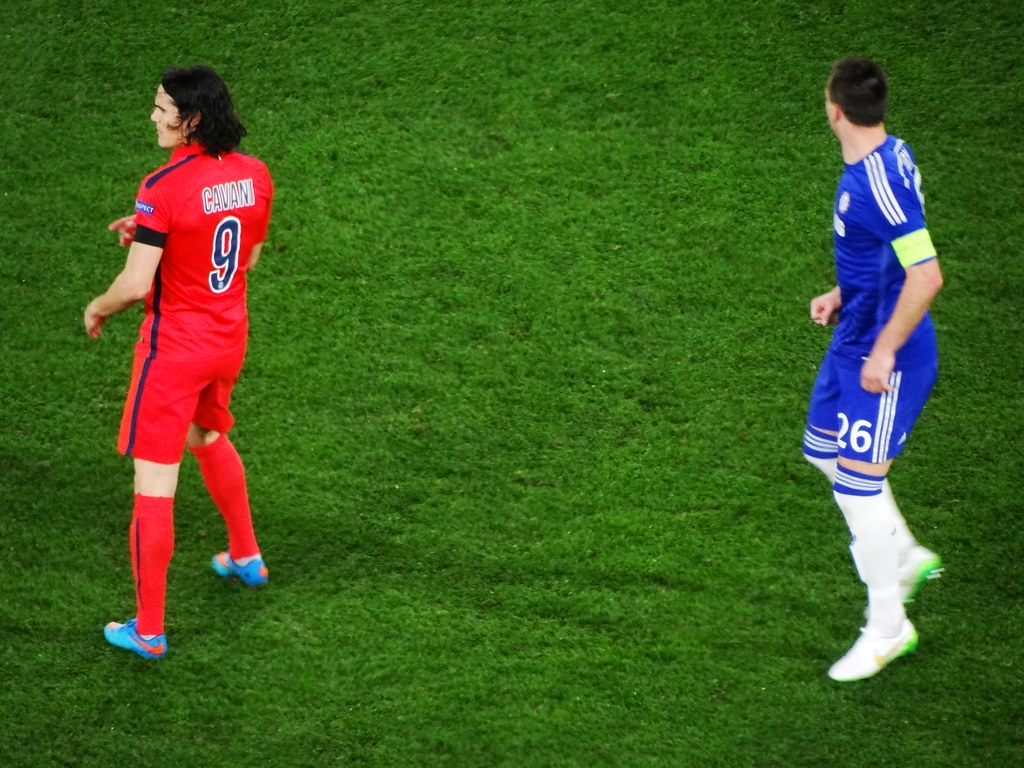 Image from Millsy's View of Edinson Cavani of Paris Saint-Germain being marked by John Terry of Chelsea F.C.