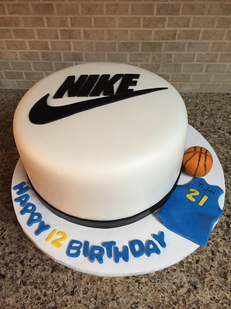 Prime Nike Basketball Birthday Cake 8 Inch Round Fondant Covered Flickr Funny Birthday Cards Online Inifofree Goldxyz