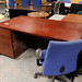 Deep red stained office desk