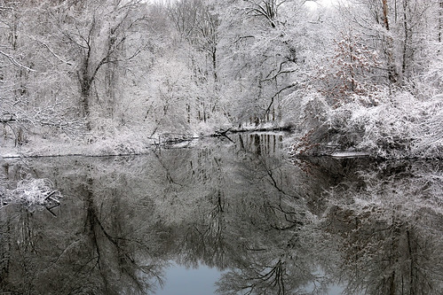 snow color river landscape covered waterreflection
