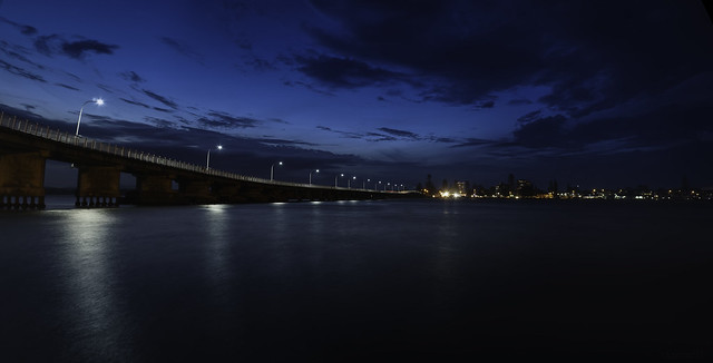 Blue Night (Forster Bridge) 5k Widescreen - DSC02128-29 Pano4 (ps11)