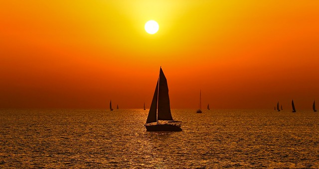 sailing at the golden hour - Tel-Aviv beach - Explored 01/04/15