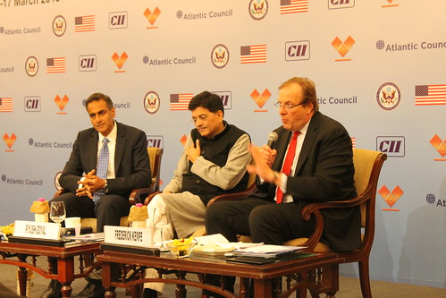 Fred Kempe moderates a discussion with Amb. Verma and Minister Goyal