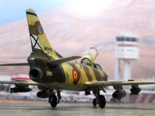 1:72 Fiat G.91R/2; '14-03' of Escuadron 143, Ala de Caza 14; Spanish Air Force (SPAF/Ejército del Aire); Los Llanos/Albacete, 1975 (Whif/Airfix kit conversion) | by dizzyfugu