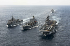 Ships of the Bonhomme Richard ARG conduct a replenishment at sea in March. (U.S. Navy/MC3 Cameron McCulloch)